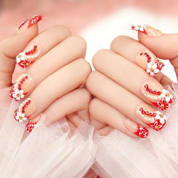 24 PCS 3D Rhinestone Finished False Nails tablets flowers Red Bride nail crystals Manicure Nails Tips Wedding Fake Nail Z3