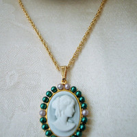 Gold Cameo Necklace, Green and White Lady Cameo, Metallic Green Beads, Hamilton Gold Rope Chain, 18 Inches Long
