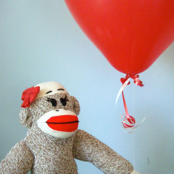 Organic Sock Monkey Doll - Organic Cotton Fill, Eco-Friendly, Handmade, Children's Toy, Stuffed Animal, Girl