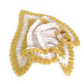 Vintage Crochet Doily, Bureau Scarf, Yellow and White, Intricate and Unusual Ruffled Crochet Stitch, Cotton Crochet, 50's Home, Handmade