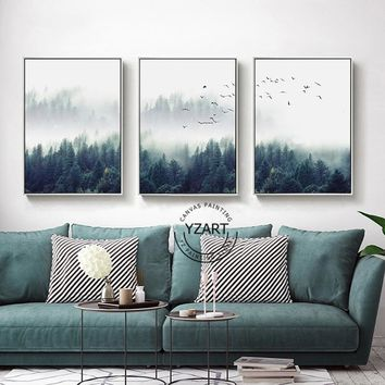 Nordic Style Canvas Painting Poster of Dense Fog Forest Lanscape Wall Art Room Decor Artwork Ornaments