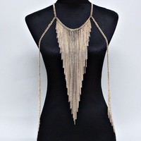 Exotic Dancer StripperSexy Clubwear Long Gold Fringe Body Chain Necklace Jewelry