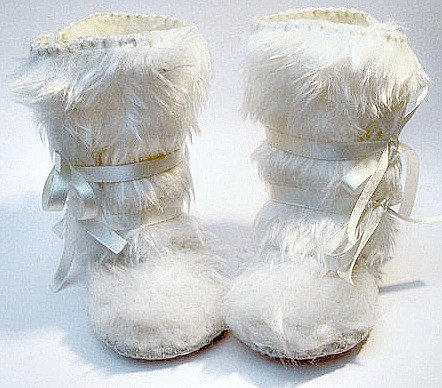 Perfect for Winter Snow White Fur Baby Girl Boots by funkyshapes