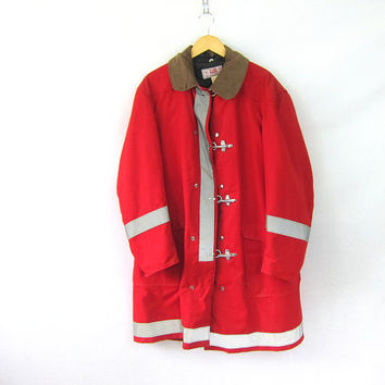 Vintage Classic Globe red Fireman Firefighters Bunker Jacket Turnout Gear Coat size 44 Firemens