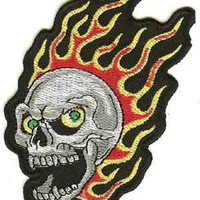 Skull Iron-On Patch Flames