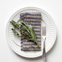 Set of 2 Blue Stripe Stone Washed Linen Napkins
