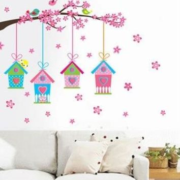 sweet pink bird cage wall stickers decals spring tree bird cage wallpaper girls kids home bedroom nursery living room decoration