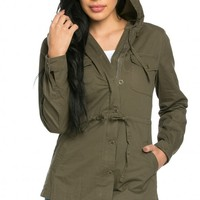 Hooded Drawstring Buttoned Parka Coat in Olive