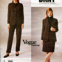 Vogue 1982 JACKET PANTS SKIRT Pantsuit Pattern Donna Karan Vogue American Designer Size 8 10 12 UNCuT Misses Petite Womens Sewing Patterns