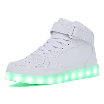 KRIATIV Kids Boy and Girl's High Top LED Sneakers Light Up Flashing Shoes Luminous Sneakers