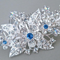 Bridal Crystal Hair Comb Something Blue Rhinestone Floral Wedding Comb Flower Bouquet Bridal Comb, DAISY
