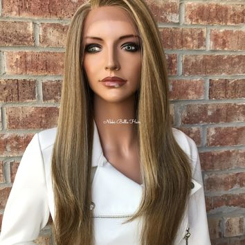 Jordan Multi Blonde Human Hair Blend Multi Parting lace front wig 16""