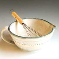 Batter Bowl with Whisk, Mixing Bowl-- Hand-made & Hand-painted Pottery