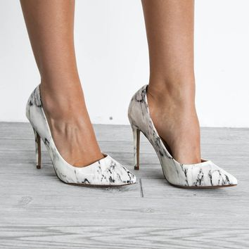 Just In Time White Marble Heel