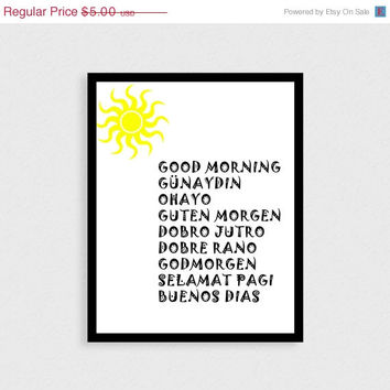 BIGSALE Good morning typographic print Instant download Bedroom decor Bedroom print Multilingual Word art Typography art Text print Digital