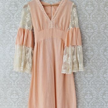 Vintage 1960s Gauze + Lace Bohemian Bell Sleeve Dress