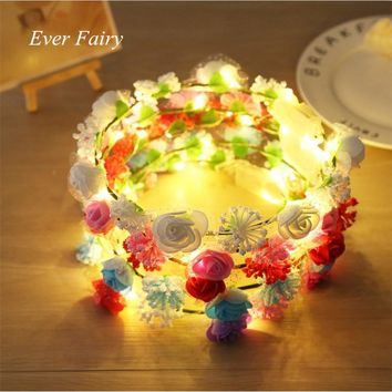 Shiny LED Rose Headdress Flower Crown Festivals Cosplay