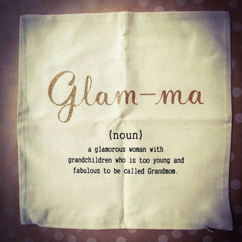 Decorative Pillow Cover, Natural Canvas Pillow Cover, Wedding Gift, Glam-ma, Mother's Day, Anniversary, Birth Stats and much more