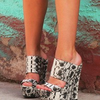 "Pacs Black & White Snake Double Strap Slip On Wedge Shoes - 6"" Heels Back In Stock"