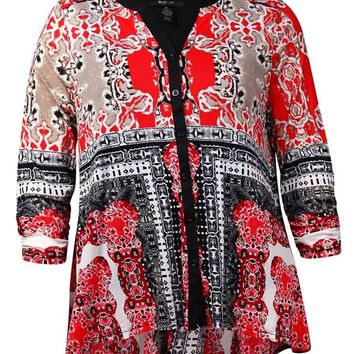 Style & Co Women's Printed Ruched Sleeve Swing Blouse
