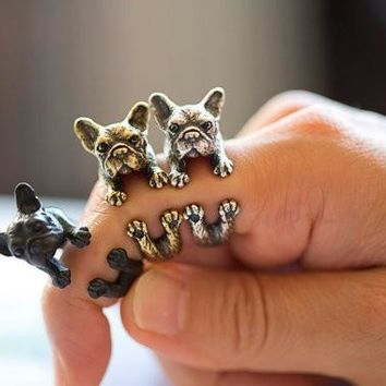 Retro Animal Handmade French bulldog Antique Gold Silver Vintage Adjustable Rings JZ315