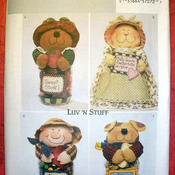 Luv N Stuff Bear Pig Dog Cat Jar Cover Doll Butterick 3986 Craft Sewing Pattern Uncut