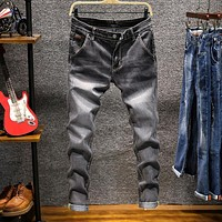 Men's Skinny Denim Jeans Pencil Pants Solid Elastic Long Jeans New Fashion Male Slim Jeans Army Green Jeans Size 38