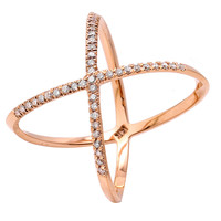 Diamond X Ring, 14K Rose Gold, Stone & Novelty Rings