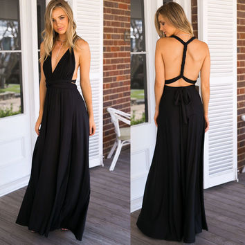 Black Backless Waist Tie Maxi Dress