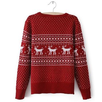 ZLYC Teen Girls Red Deer Christmas Long Sleeve Winter Casual Sweater Pullover