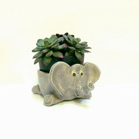 Pottery  Elephant Candle Holder Planter 1980s Vintage Handmade