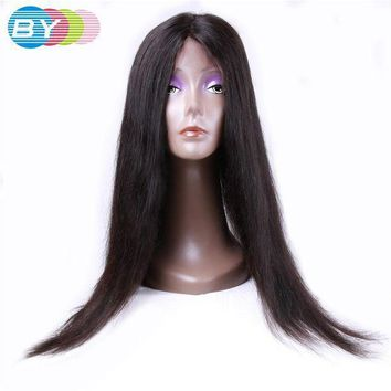 PEAP78W BY Virgin Human Hair Straight Hair Full Lace Wigs Natural Dark Color 10-24inch