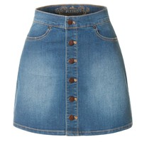 LE3NO Womens Demin A-Line Button Down Mini Skirt with Pockets (CLEARANCE)