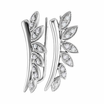 10kt White Gold Women's Round Diamond Floral Climber Earrings 1-4 Cttw - FREE Shipping (US/CAN)