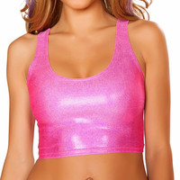 Hot Pink Twinkle Sports Crop Top