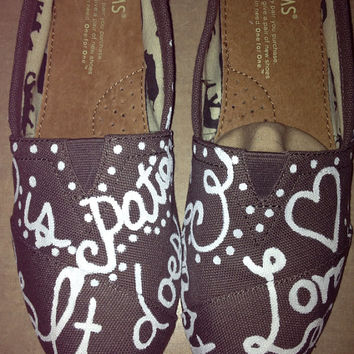 Love is Patient Bible Verse Painted Toms