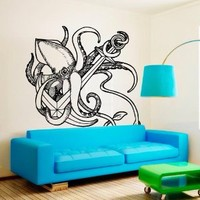 Wall Decal Vinyl Sticker Decals Art Decor Design Octopus Tentacles ship anchor shark fish Kids Children Beedroom Dorm M1514