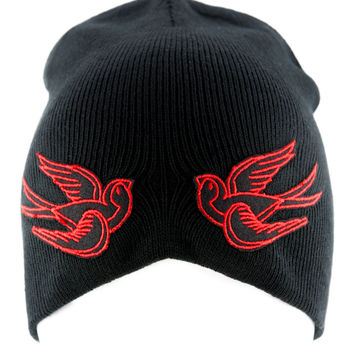Red Swallow Sparrow Birds Beanie Alternative Clothing Knit Cap Rockabilly Tattoo Ink