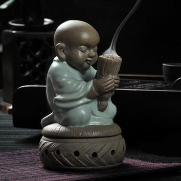 tea pet ceramic burner incense monk sandalwood home decor statue figurine buddha wishing candle furnace base