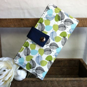 Little leaves, green, blue, navy womens folded wallet, coin pouch, bill slots, card slots