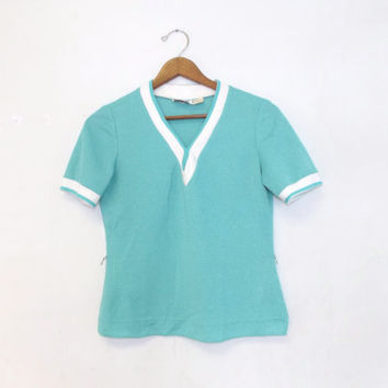 Vintage 70s 80s Retro Leslie Fay Teal Blue Striped Gym Shirt Vintage Terry Cloth Tennis T Shirt Size Small V-neck Hipster Summer Athletic
