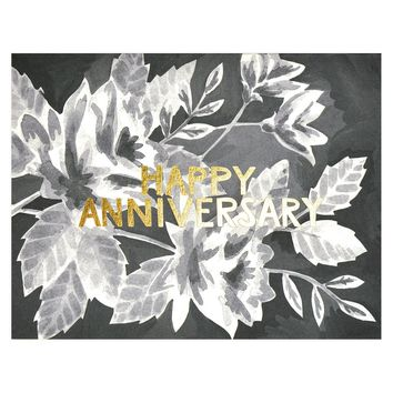 Black Floral Anniversary Card