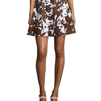 Flirt Printed A-Line Skirt, Optic White/Nutmeg, Size: 4, OPTIC WHITE/NUTME - Michael Kors