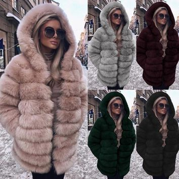 2018 Winter Long Sleeve Women Faux Fur Coat Hooded Parka Warm Fur Jacket Thick Outwear S-3XL