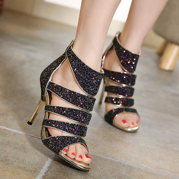 High Heel Gradient Summer Peep Toe Hollow Out Sandals = 4804992516