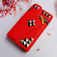 ZIPPER Pocket Credit Card Holder Magnetic Wallet Flip Deluxe Leather 3D Metal Studded Trim Russian Puzzle Case Cover for iPhone 4 4S Red