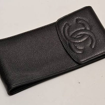 Vintage CHANEL black caviarskin mini pouch for iPhone, cigarettes, coins, card, cosmetic mini case with CC mark. Gift for unisex