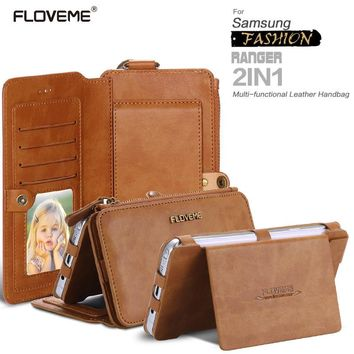FLOVEME Retro Leather Phone Case For Samsung Galaxy NOTE 3 4 5 7 / S6 S7 edge plus Metal Ring Coque Card Wallet Protective Cover
