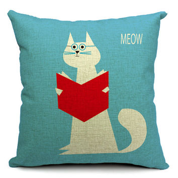 MYJ Newest European Fashion Style Cute Cat Printed Pillow Bed  Home Decorative Throw Pillow Fundas Para print your name