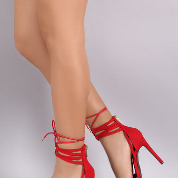 Anne Michelle Suede Lace Up Pointy Toe Stiletto Pump